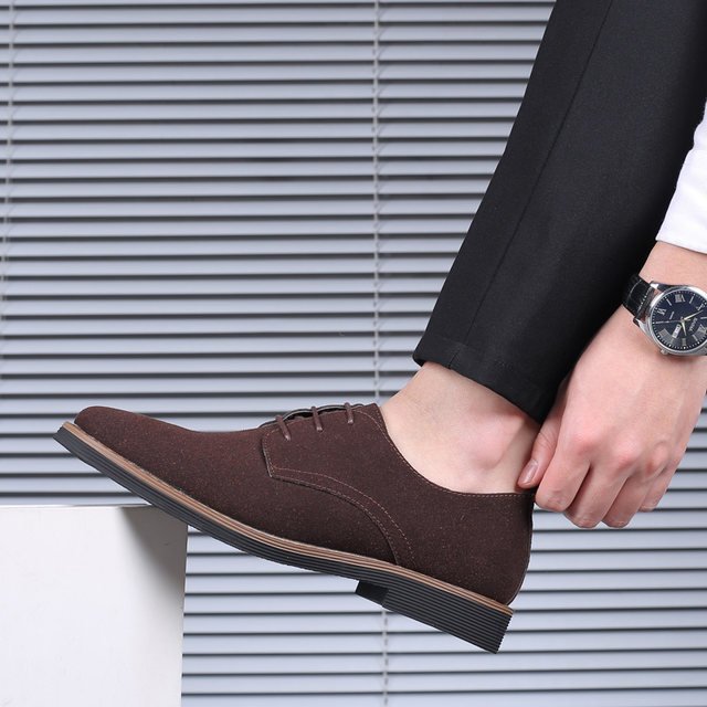 2019 High Quality Suede Leather Soft Shoes Men Loafers Oxfords Casual Male Formal Shoes Spring Lace-Up Style Men's Shoes 25