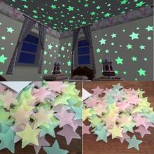 100PC Glow In The Dark Stars Kids Bedroom Fluorescent Wall Stickers Luminous Sticker Color