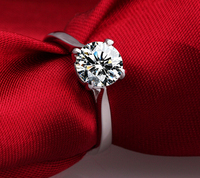 1 5ct 4 Prongs SONA Synthetic Diamond Ring 925 Sterling Silver Fashion Creative Ring PT950 Imprint