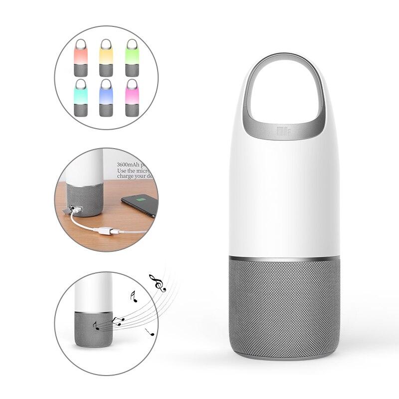 NILLKIN 2 en 1 batterie externe Bluetooth haut-parleur sans fil basse tf carte boîte à musique multicolore lampe à LED chambre bureau sac d'emballage