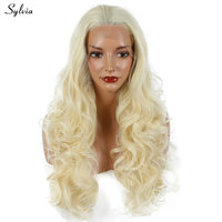 613 Pastel Blond Bouncy Synthetic Lace Front Wig Long Soft Curly Heat Resistant Fiber Half Hand