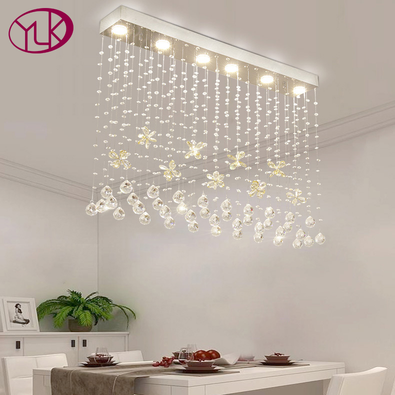 Cognac Butterfly Crystal Modern Chandelier For Dining Room Rectangle Hang Crystal Lamps Home Decoration Luminaire Suspension chic mid waist button design ripped denim shorts for women