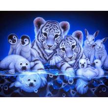 Diamentowe malowanie diamentowe hafty 5d diy kwadratowe tygrysy i pingwiny diamentowe mozaiki diamentowe malowanie daimond KBL tanie tanio Żywica Plac Obrazy MTEN Pełna Europejski i amerykański styl Zwierząt 30-45 Paper bag Zwinięte Pojedyncze
