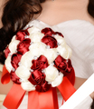 2017 Дешевые Свадебные/Невесты Свадебный Букет Бордовый и Белый Роза Ручной Работы Искусственный Цветок Букеты де mariage рамо де ла бода