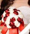 2017 Barato de La Boda/Ramo de Novia de dama de Honor de Borgoña Blanco y Rosa Hecha A Mano ramo de la Flor Artificial Ramos de mariage boda