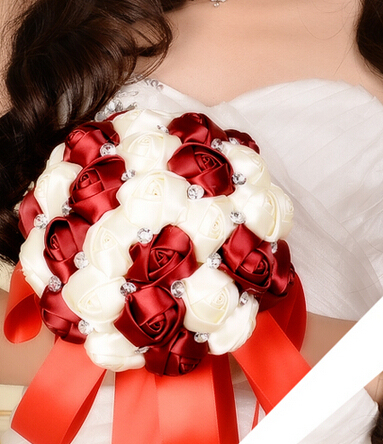 2017 Cheap Wedding/Bridesmaid Bridal Bouquet Burgundy&White Rose Handmade Artificial Flower Bouquets de mariage ramo de la boda