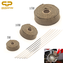 1PC Car Train Motorcycle Exhaust Heat Shield 5M/10M/15M *25MM Brown Thermo Wrap Protective Tape Thermal
