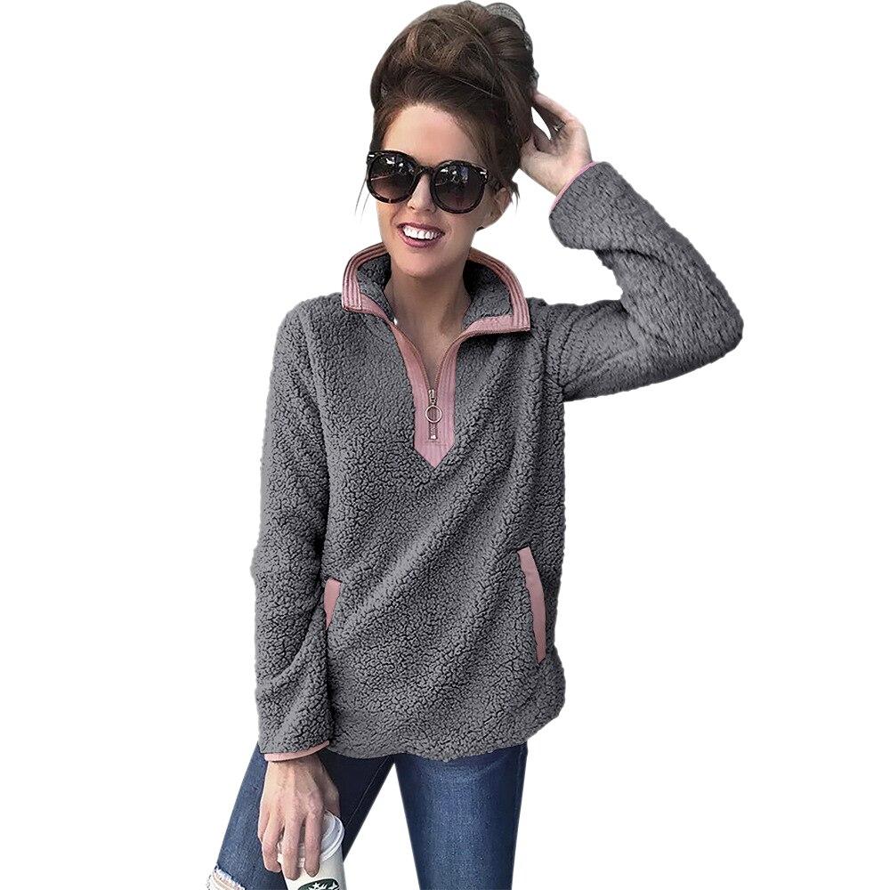 Women Autumn Winter Hoodies Long Sleeve Patchwork Zipper Pockets Turtleneck Streetwear Loose Fashion Femme Pullovers Sweatshirt
