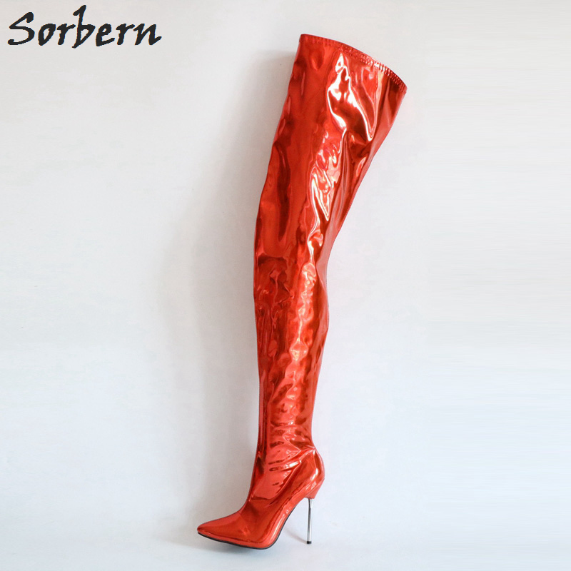 Sorbern Metallic Red Over The Knee Boots For Women Metal Heels Stilettos 2018 Boots Women Custom Colors Boot Heels WomenSorbern Metallic Red Over The Knee Boots For Women Metal Heels Stilettos 2018 Boots Women Custom Colors Boot Heels Women
