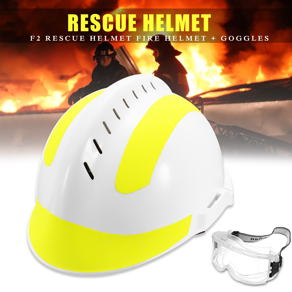 1Set Safurance Rescue Helmet For Fire Fighter with Protective Glasses Safety Protector White Workplace Hard Hat Safety Supplies 1set safurance rescue helmet for fire fighter with protective glasses safety protector white workplace hard hat safety supplies
