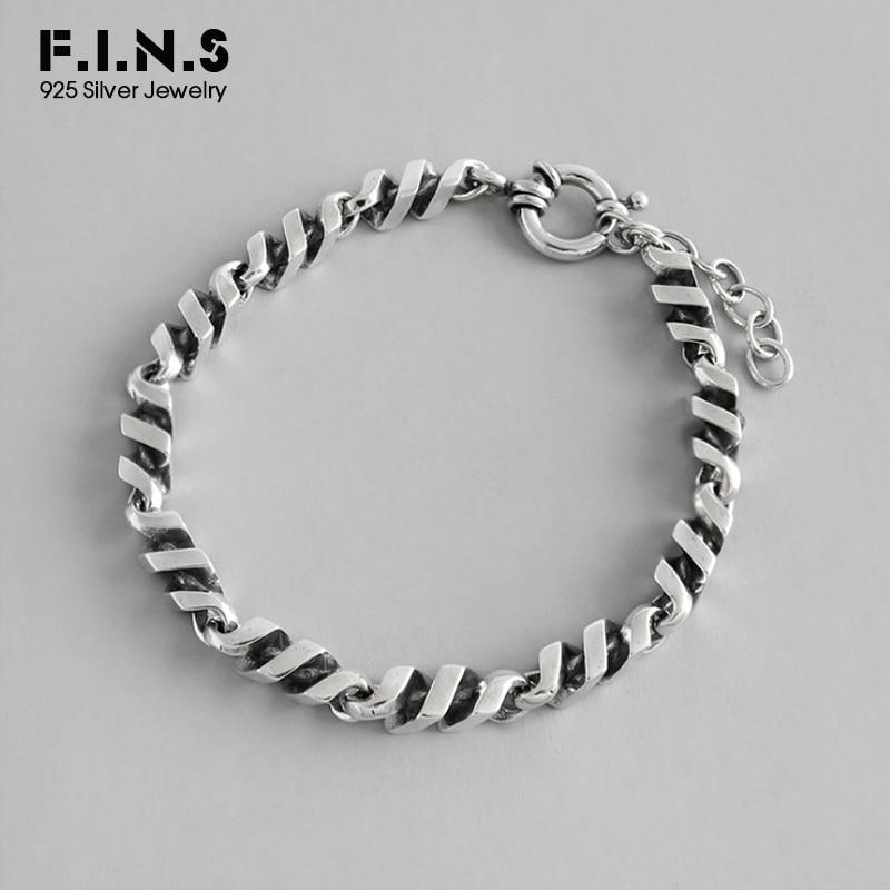 F.I.N.S 925 Sterling Silver Bracelet Vintage Women Men Charm Bracelets Bangles Twist Chain Silver 925 Friendship Bracelet