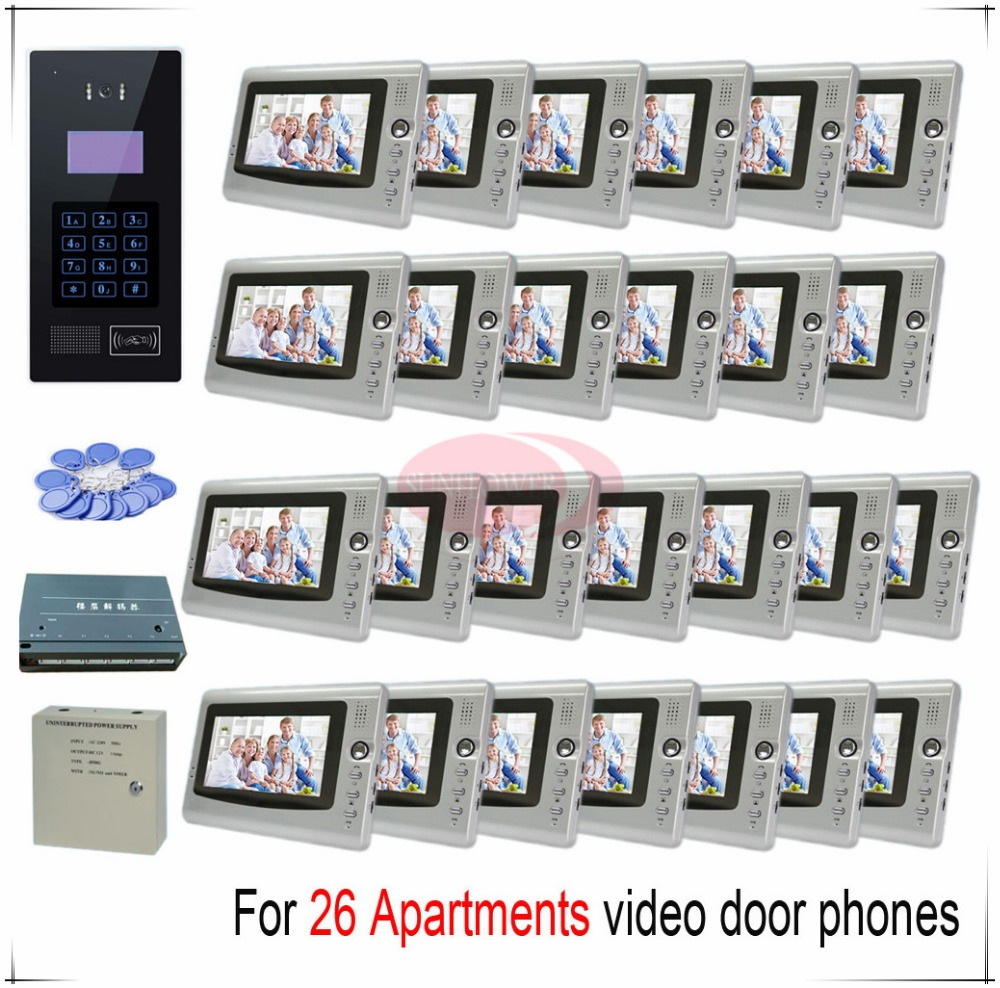 Touch room number For 26 apartments video door phones intercom systems support Inductive Card/Password unlocking door bells пижама жен mia cara майка шорты botanical aw15 ubl lst 264 р 42 44 1119503