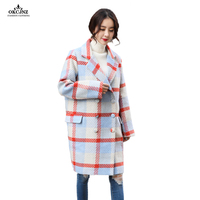 Hot Sale Plaid Wool Coat Women 2018 Autumn New Lapel Cocoon Type Thickened Woolen Coats Female Parka Loose Long Outerwear OK98T
