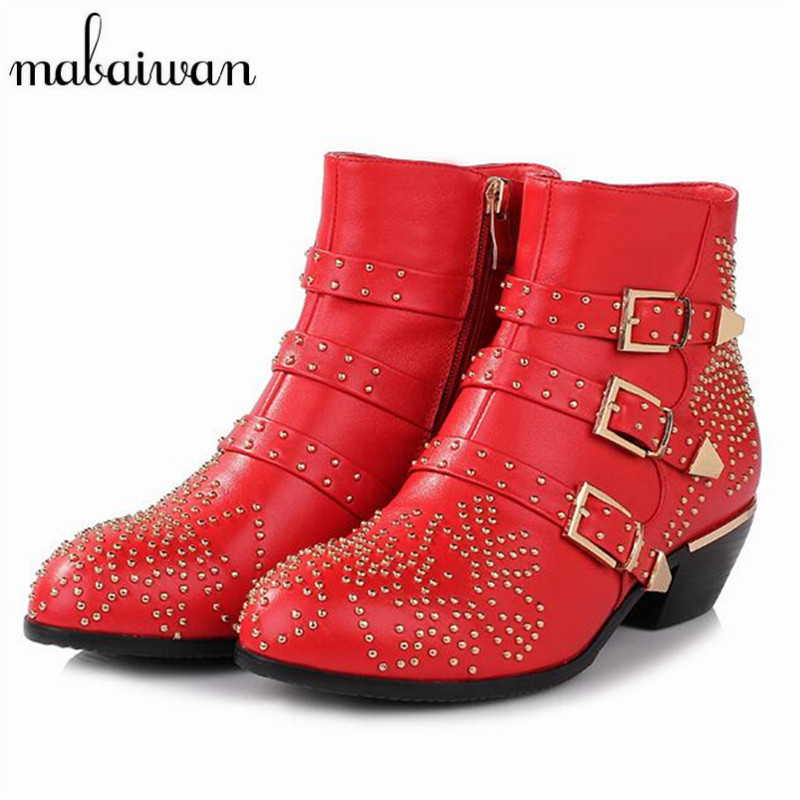 Mabaiwan Rivets Studded Women Booties 2017 New Black Red Ladies Shoes Women Autumn Winter Ankle font