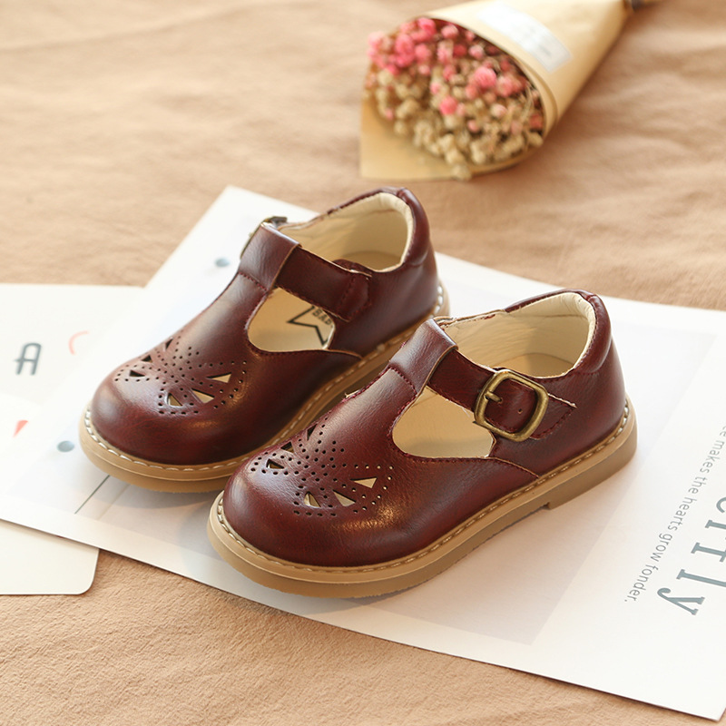 COZULMA Baby Kids Butterfly Cut outs Leather Shoes Boys Girls T strap Hook Loop Shoes Children Non slip Shcool Shoes 21 30 in Leather Shoes from Mother Kids
