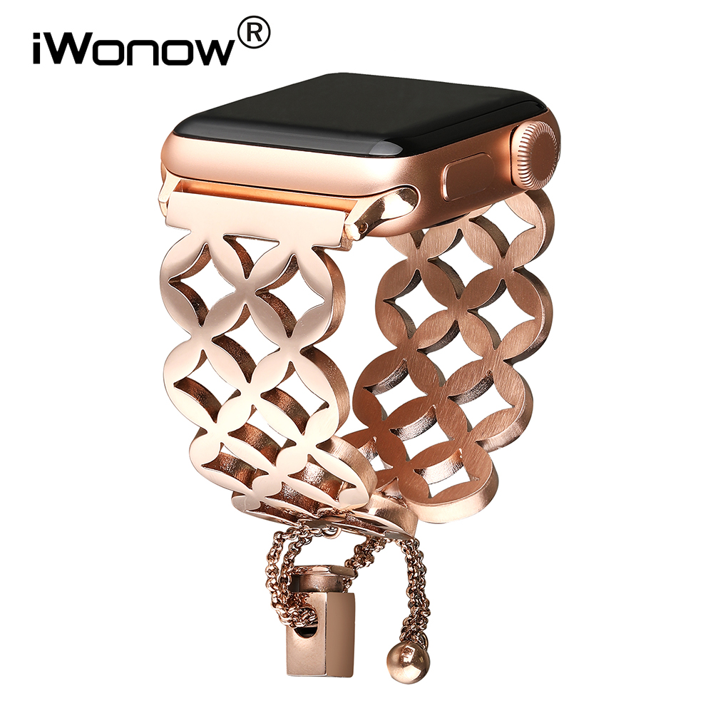 Women Jewelry Watchband For IWatch Apple Watch 38mm 40mm 42mm 44mm Series 5 4 3 2 1 Stainless Steel Band Hollow Strap Bracelet