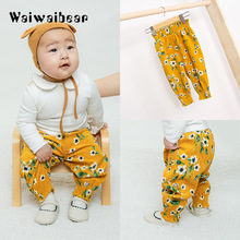 Waiwaibear Baby Pants Newborn Pure Cotton Mid Waist  Floral Pencil Full Length Trousers For Girls
