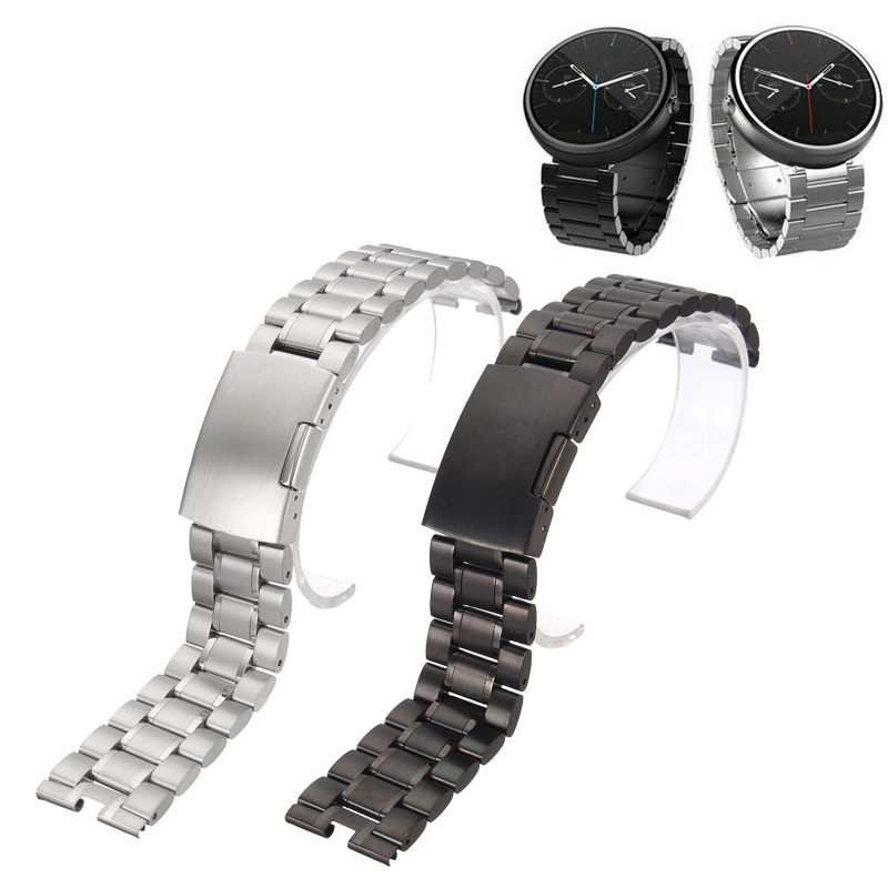 Hot 22mm Stainless Steel Watchband Strap Straight End Bracelet Women Men Fold Buckle Deployment Clasp Wristband Silver Black watch straps with silver black deployment clasp watchband genuine leather bracelet for men women watches 20mm 21mm 22mm hot sell