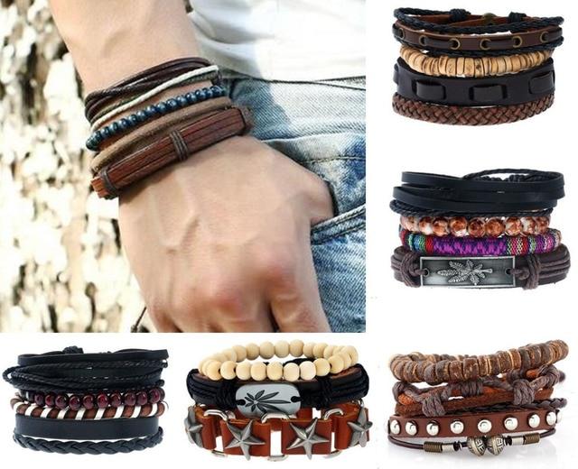 New 4PCS/Set Vintage Punk Wrap Leather Bracelets For Men 2018 Braid Rope Beads bracelets & bangle Cuff Jewelry pulseira mascu