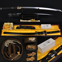 T10 steel clay tempered hazuya polishing JAPANESE SAMURAI CRANE SWORD KATANA REAL RAYSKIN COVERED SAYA FULL