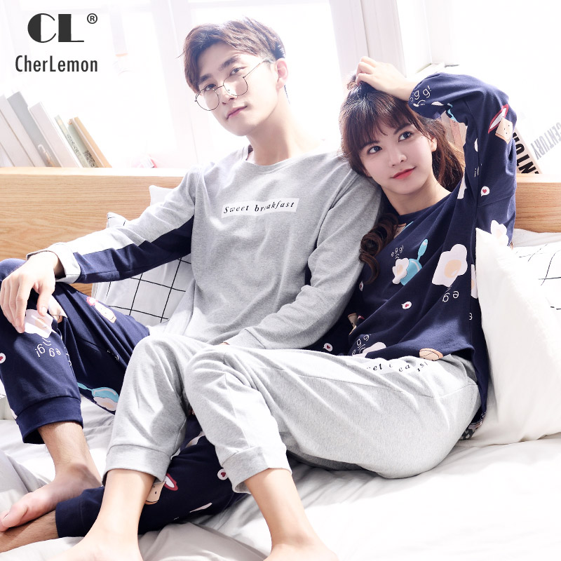 CherLemon Couple Cotton Pajama Sets Novelty Egges Print Pullover Women and Mens Sleep Lounge Set Casual Spring Home Clothes 6693