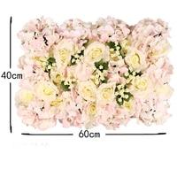 40*60cm Luxury customize silk rose artificial flower wall panel grass base DIY backdrop wedding decoration arch flower Row art