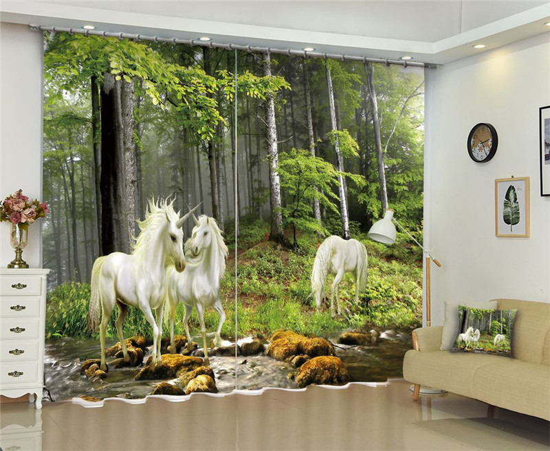 US $84.0 20% OFF|Modern window curtains home decoration fashion fabrics for  curtains living room 3D Unicorn window treatment balcony-in Curtains from  ...