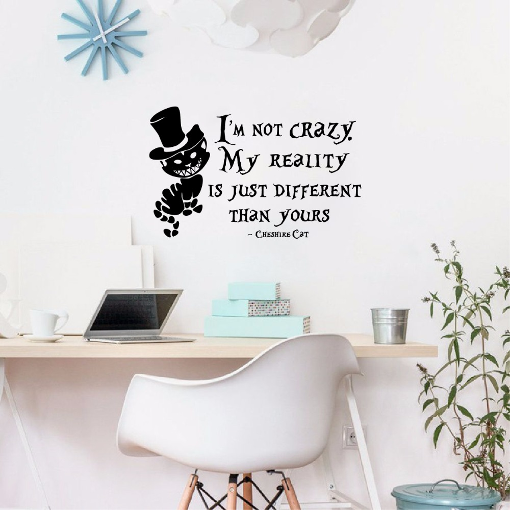 Alice In Wonderland Wall Sticker Cheshire Cat Quotes Vinyl Decals Room Wall  Art Decoration DIY Home Decor In Wall Stickers From Home U0026 Garden On ...