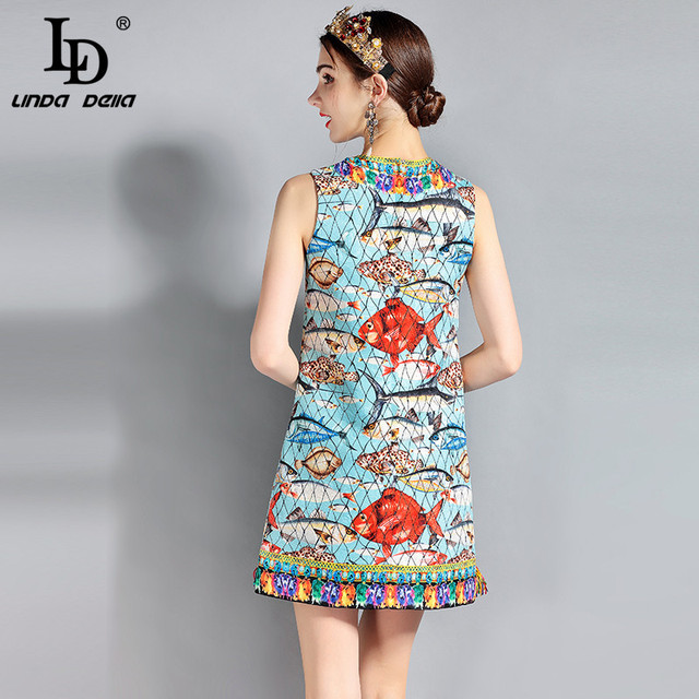 Sleeveless Charming Seabed Fish Print Tassel Beading Elegant Dress