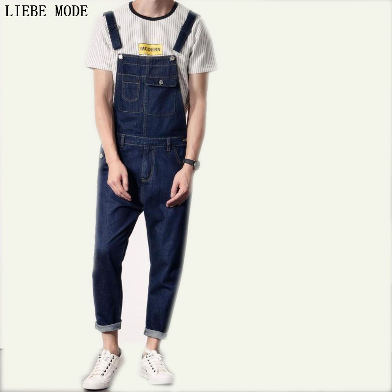 Mens Slim Fit Denim Overalls Jumpsuit Jeans Men New Casual Blue Jumpsuit For Men Denim Pencil Pant Multi Pocket XXL denim overalls male suspenders front pockets men s ripped jeans casual hole blue bib jeans boyfriend jeans jumpsuit or04