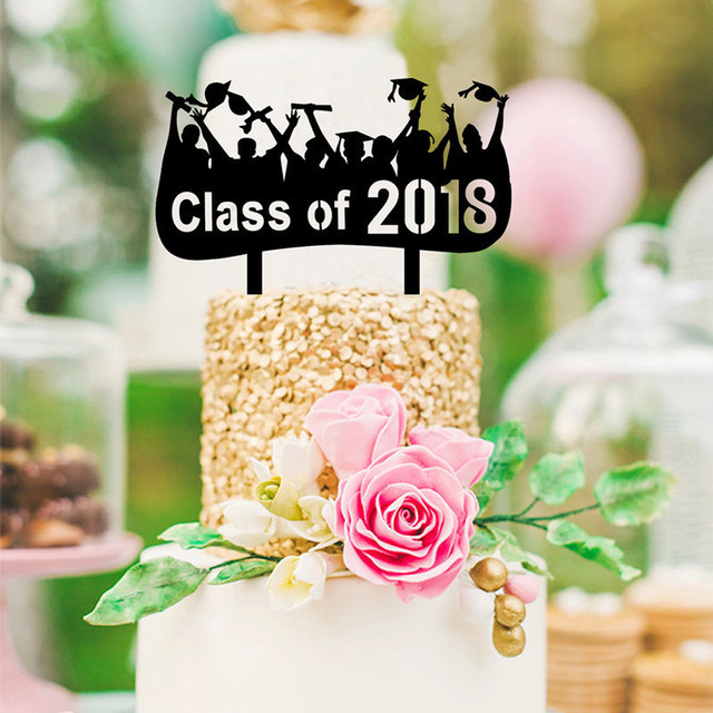 Top selling Class of 2018 Black Cake Topper Graduation Party Cake ...