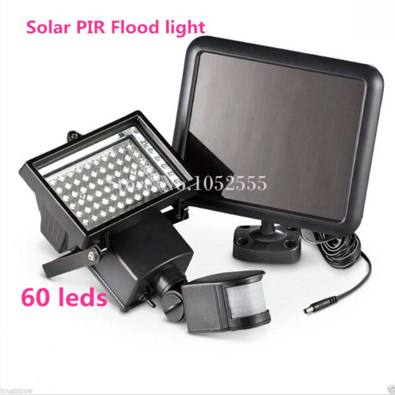 1PCS Outdoor Solar Powered (60 LEDs Lights Beads) Floodlight Infrared Ray Motion Sensor Garden PIR Wall Lamp Sensor Solar light