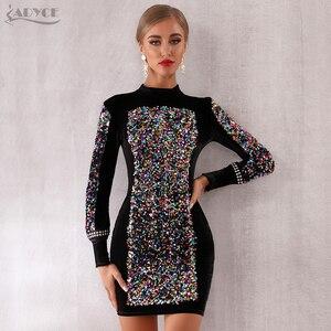 Image 3 - Adyce 2020 nowa jesienna kobiety luksusowe Celebrity wieczór Runway Party Dress Vestidos Sexy czarna z długim rękawem cekinami Mini sukienka klubowa