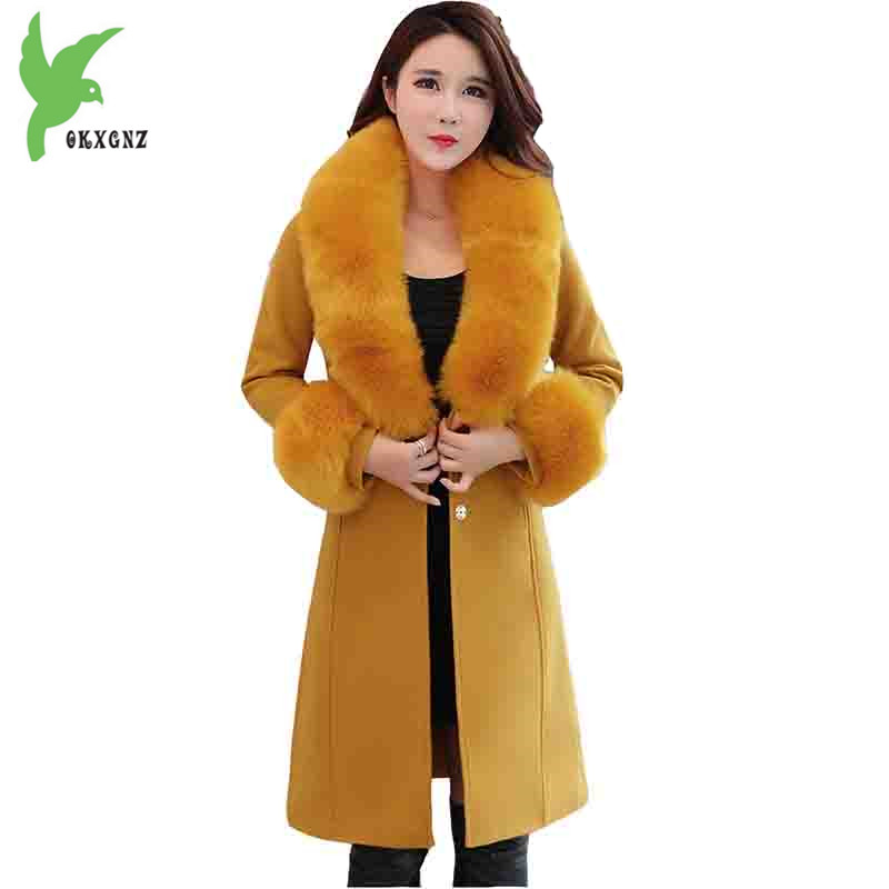 Boutique Women's windbreaker jackets New autumn winter Woolen cloth coats Medium length fur collar Woolen Outerwear OKXGNZ A1381