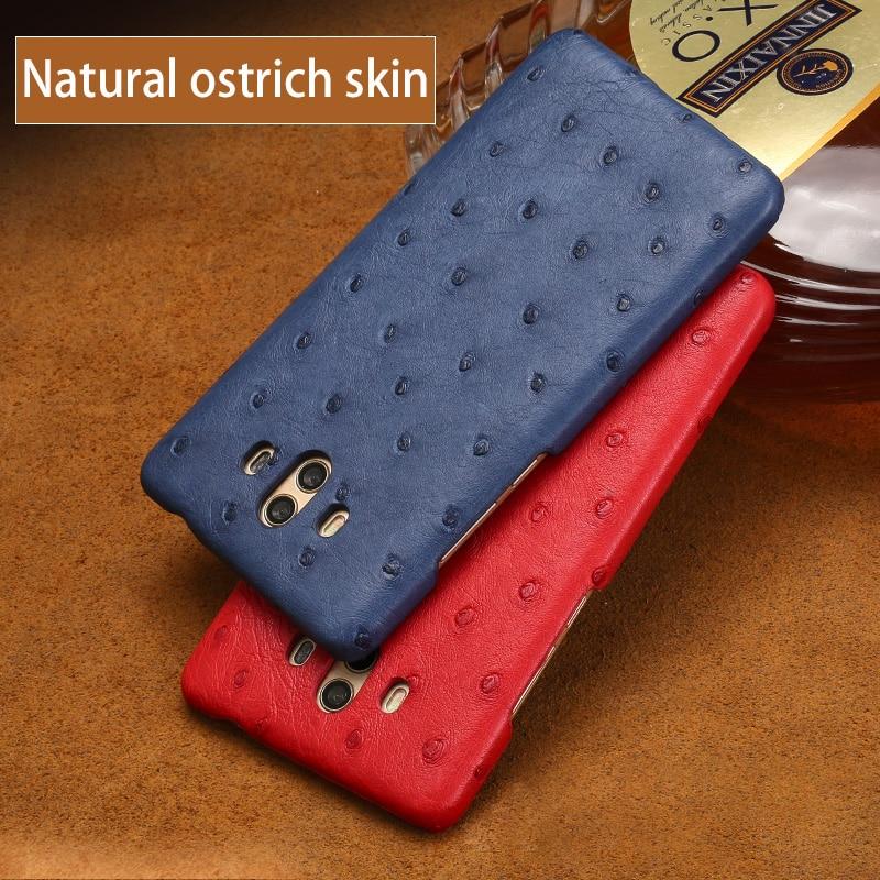 Cuir véritable de luxe pour Huawei Mate 8 9 10 étui peau d'autruche naturelle pour P8 P9 P10 lite Nova 2 S P couverture arrière intelligente