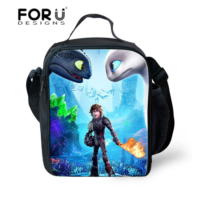 FORUDESIGNS Cartoon Anime How to Train Your Dragon Printing Lunch Bags Kids School Lunchbox Boys Food Storage for Picnic Bags