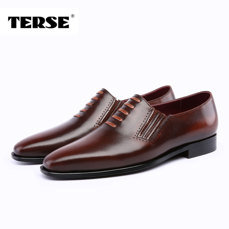 TERSE_Handmade Full Grain Leather Shoes Dress Men Shoes 3 Colors Luxury Brand Factory to Customer Hand Patina Shoes T81390n0019 branded men s penny loafes casual men s full grain leather emboss crocodile boat shoes slip on breathable moccasin driving shoes