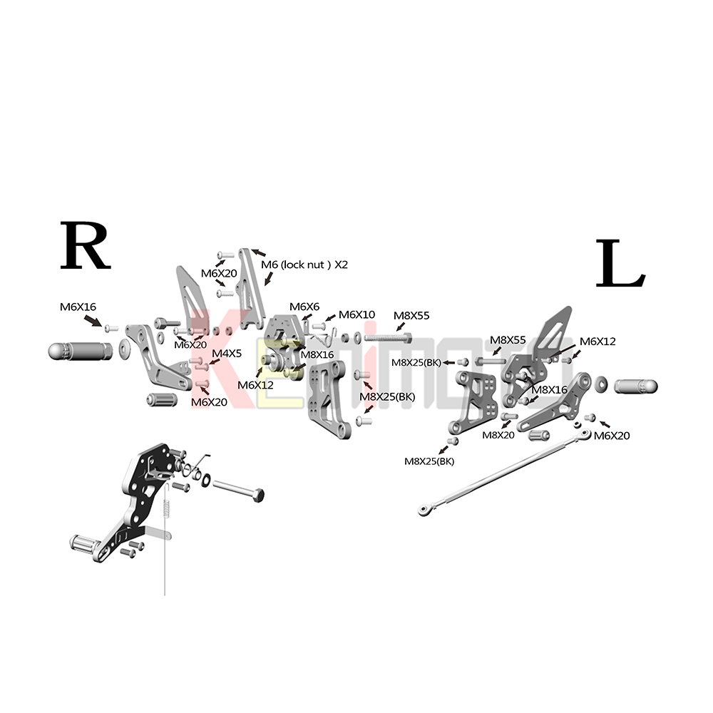 2012 Honda Cbr250ra Wiring Diagram Goldwing Kemimoto Cbr250r Adjustable Footrests Rear Set For Rzr