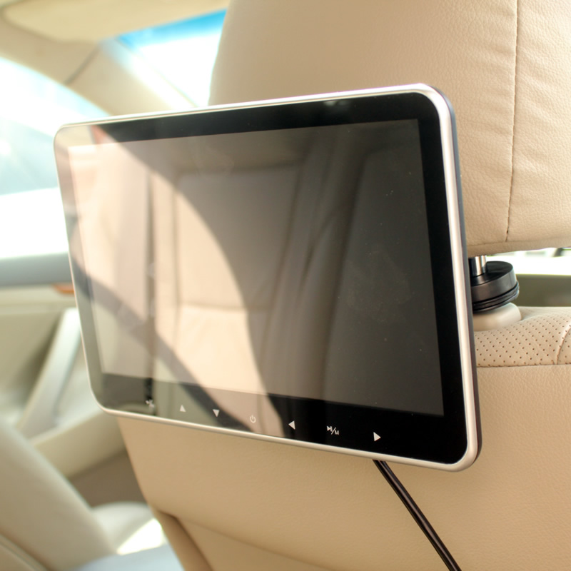 Super Slim 10 Inch Car Headrest Multimedia MP4 MP5 Video Player HD SD Monitor USB SD HDMI AV yuvası və FM ötürücü ilə