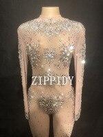 Блестят кристаллы серебра сетка сексуальный комбинезон для ночного клуба вечерние певица See Through купальник Для женщин танцевальное шоу нар