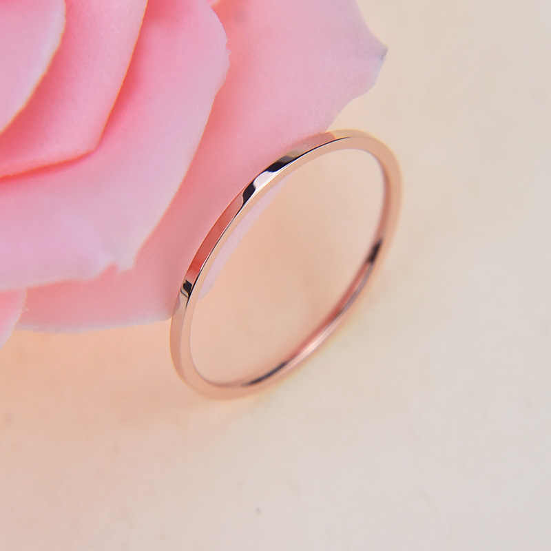 Martick Top 1 MM mince en acier inoxydable or argent-couleur Couple anneau Simple mode or Rose bague pour les femmes Anillos R3