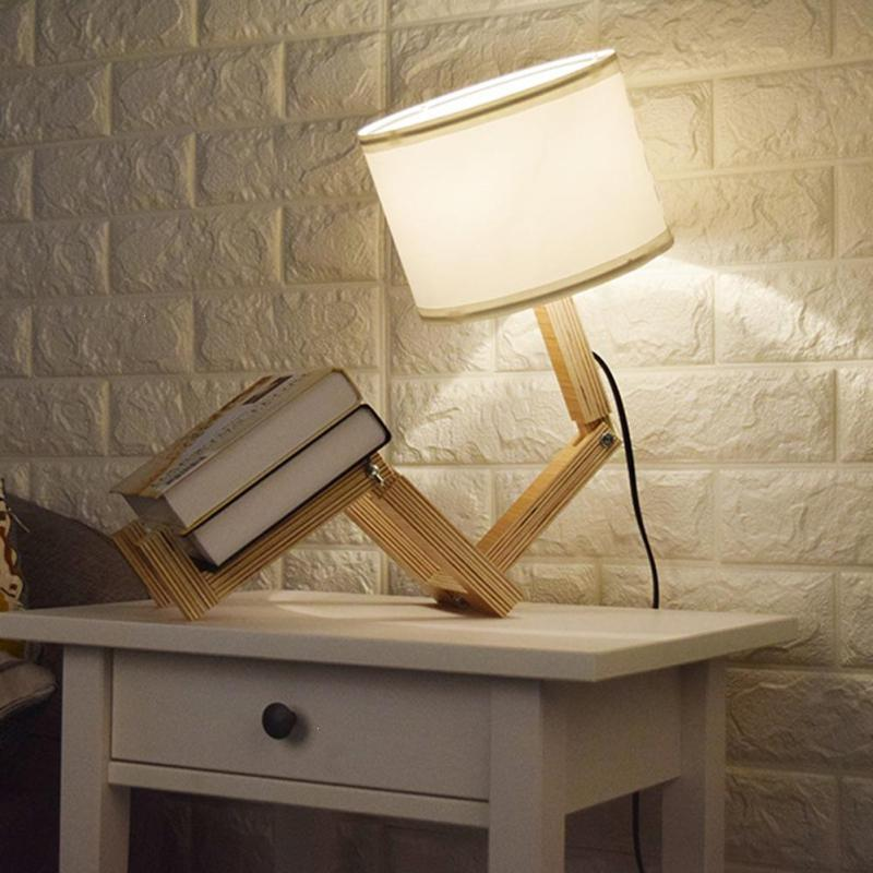 Creative EU Plug Robot Folding Desk Lamp Fashion Wood Read Table Lights Study Reading Lamps Bedside Lighting For Bedroom S2 creative eu plug robot folding desk lamp fashion wood read table lights study reading lamps bedside lighting for bedroom s2