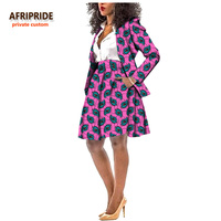 2019 Autumn african women suit AFRIPRIDE private custom full sleeve top+knee length skirt working style pure wax cotton A722613