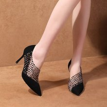 Liren 2019 Summer PU Fashion Sexy String Bead Flock Sandals Pointed Toe Wrapped High Thin Heels Lady