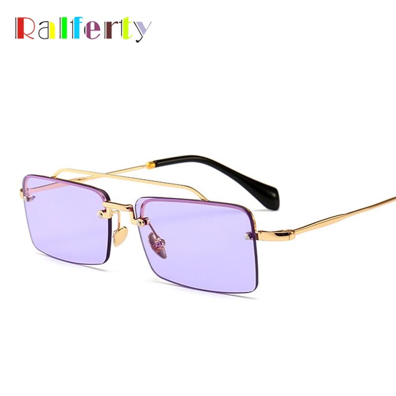 Ralferty Vintage Square Sunglasses Women Designer Retro Small Sun Glasses UV400 Purple Eyewear lunette de soleil femme CSMU55T