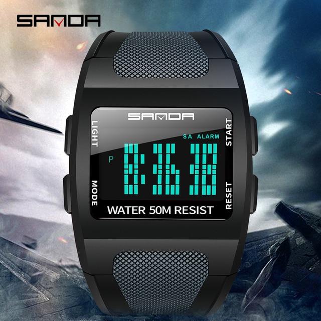 2019 ساندا العسكرية ساعة رجالي الأعلى العلامة التجارية الفاخرة للماء ساعة رياضية الأزياء ساعة رقمية relogio masculino