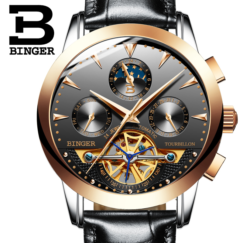 2017 Switzerland luxury men s watch BINGER brand Mechanical Wristwatches Wristwatches sapphire full stainless steel B1188