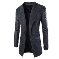 New Winter Fashion Sleeve Long Men Coat Hot Casual Slim Fit Men Jacket Coat Patchwork Solid Long Men