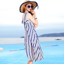 Casual Dress Women Plus Size M-3XL 2019 Spring Summer 100% Cotton Blue And White Stripes Round Neck Sleeveless Loose Midi
