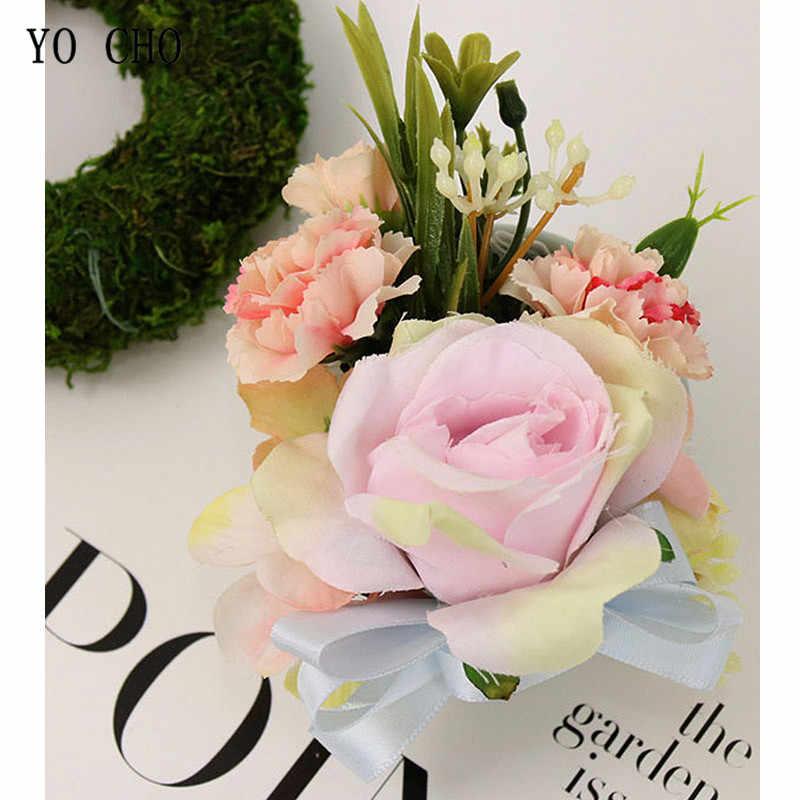 ヨーヨー町 Boutonnieres シルクバラ白、ピンク、赤結婚式のコサージュカフブレスレット花嫁介添人結婚ウエディング新郎花 Boutonnieres